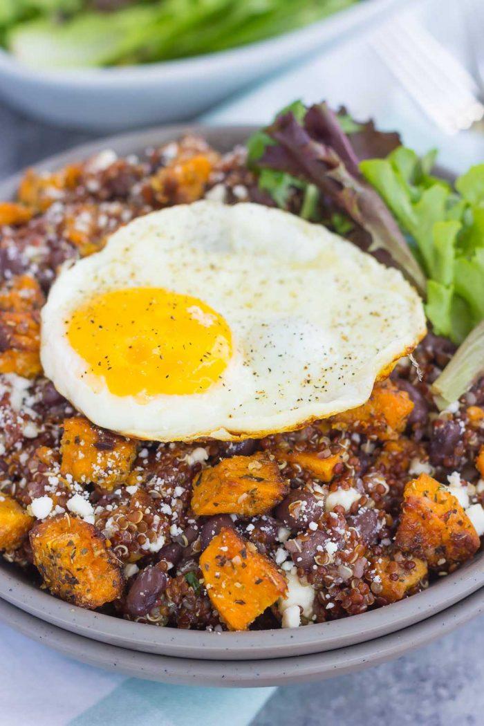 Roasted Parmesan Sweet Potato Quinoa Bowl