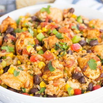 These Southwest Chicken and Rice bowls are packed with flavor and perfect for weeknight meals. Filled with tender chicken, brown rice, bell peppers, corn, black beans, and a mixture of spices, this zesty dish is simple to prepare and ready in no time!