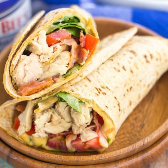 This Tuna Spinach Wrap is filled with hearty tuna, fresh spinach, crisp bacon, and tomatoes. Simple, fresh and easy to make, this dish comes together in minutes and serves as a perfect lunch or dinner for back-to-school times!