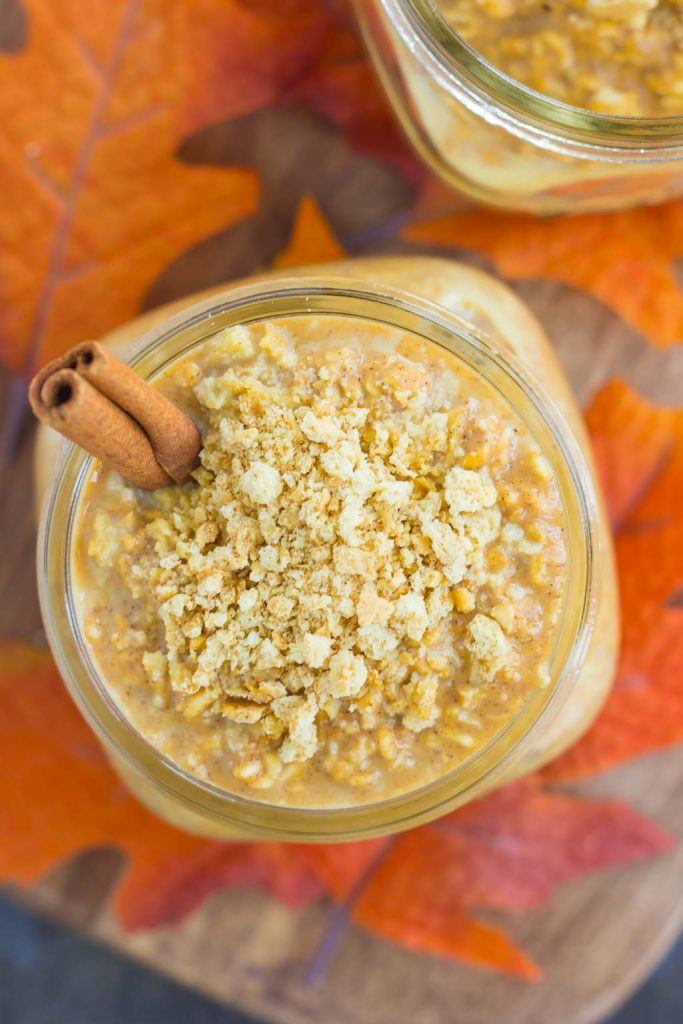 These Pumpkin Pie Overnight Oats are a healthier way to start your mornings! Packed with hearty oats, sweet pumpkin, and a sprinkle of cozy fall flavors, you can have this protein-packed dish prepped in a matter of minutes. Thick, creamy, and bursting with flavor, these overnight oats are the perfect breakfast to enjoy all season long!