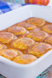 pumpkin cobbler with snickerdoodle cookie topping