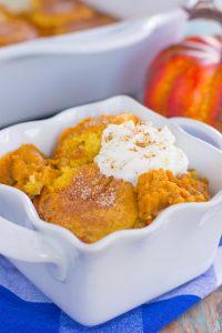pumpkin cobbler in a white dish