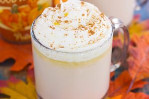 side view of a warm fall drink in a mug