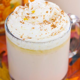 Slow Cooker Pumpkin Caramel White Hot Chocolate {Plus a Video!}