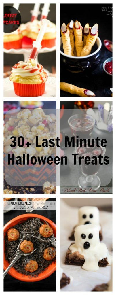 30+ Last Minute Halloween Treats is a delicious collection of recipes for those parties, get-togethers or for ghosts and goblins in your life! #halloween #halloweenrecipes #halloweentreats #halloweendesserts #halloweendrinks