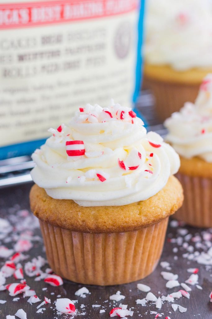 These Vanilla Cupcakes with Peppermint Frosting are light, fluffy, and topped with a sweet peppermint swirl. Easy to make and bursting with flavor, these cupcakes are the perfect sweet treat to add to your holiday baking list!