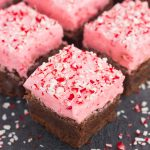 frosted peppermint brownies in squares