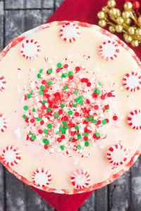 top down shot of a whole peppermint cheesecake