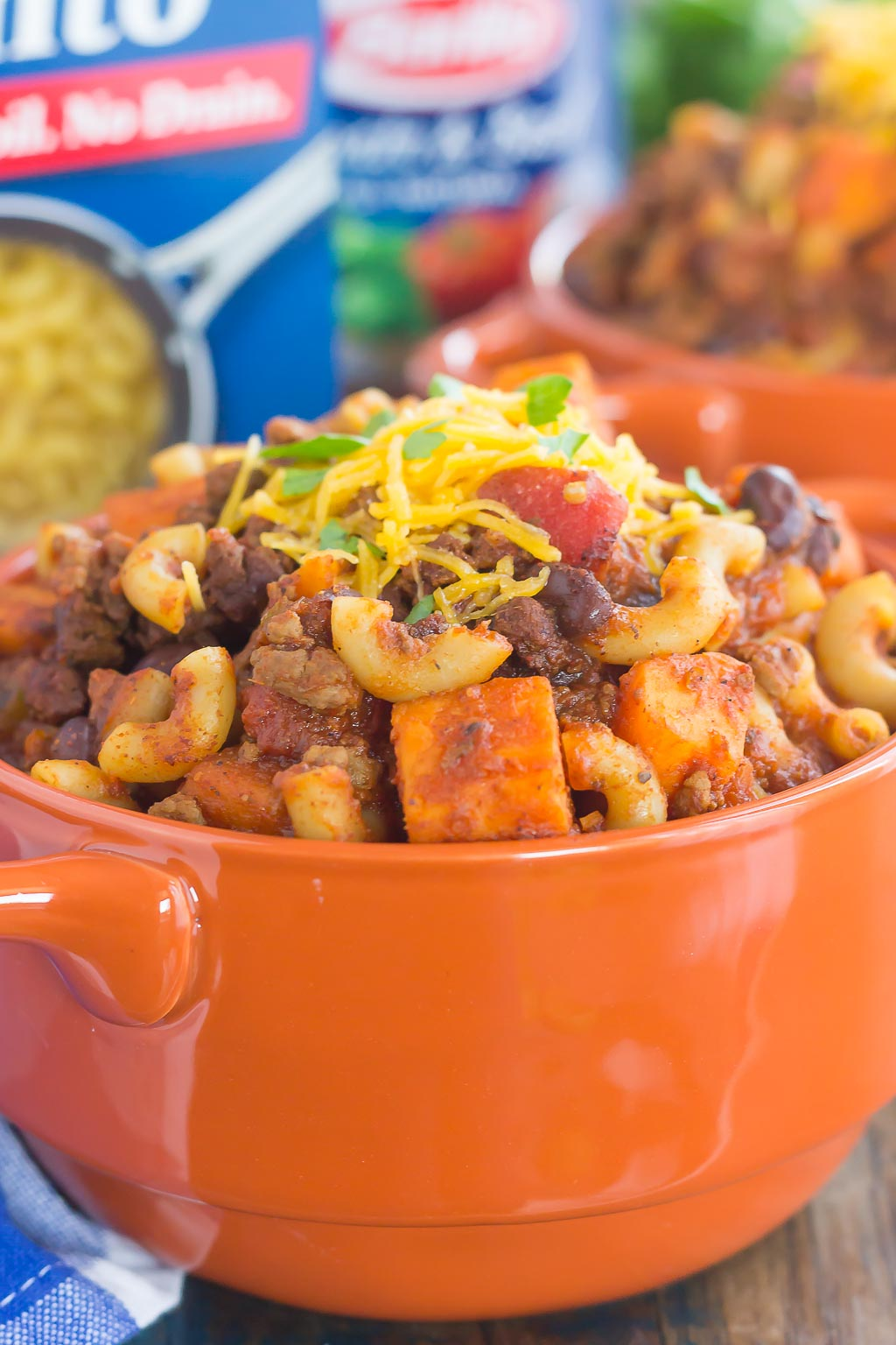 This Sweet Potato Chili Pasta is a one pot dish that's packed with the warm and comforting flavors of the season. Hearty, thick, and filled with sweet potatoes, beef, black beans, and pasta, you'll love this easy meal!