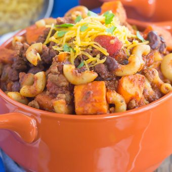 Sweet Potato Chili Pasta {Plus a Video!}