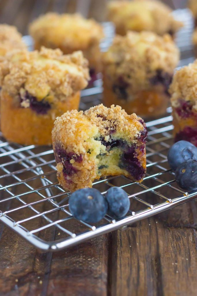 These Blueberry Coffee Cake Bites make the best breakfast or dessert. Loaded with juicy blueberries, topped with a cinnamon crumble, and baked to perfection, these mini bites are fun to make and even better to eat!