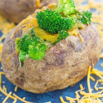 "Seasoned potatoes are baked until soft and fluffy on the inside and crisp on the outside. Topped with fresh broccoli and a sprinkling of cheddar cheese, these Broccoli Cheddar Stuffed Baked Potatoes make deliciously easy ""meal for one"" that's packed with flavor!"