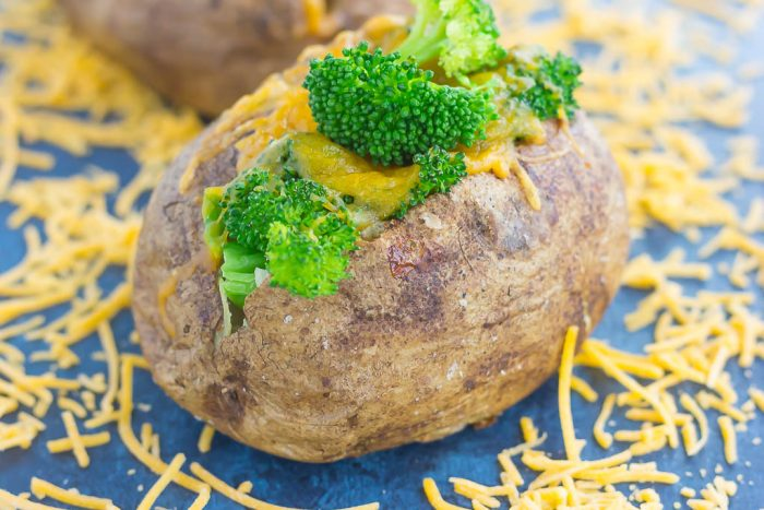 Meal for One: Broccoli Cheddar Stuffed Baked Potatoes