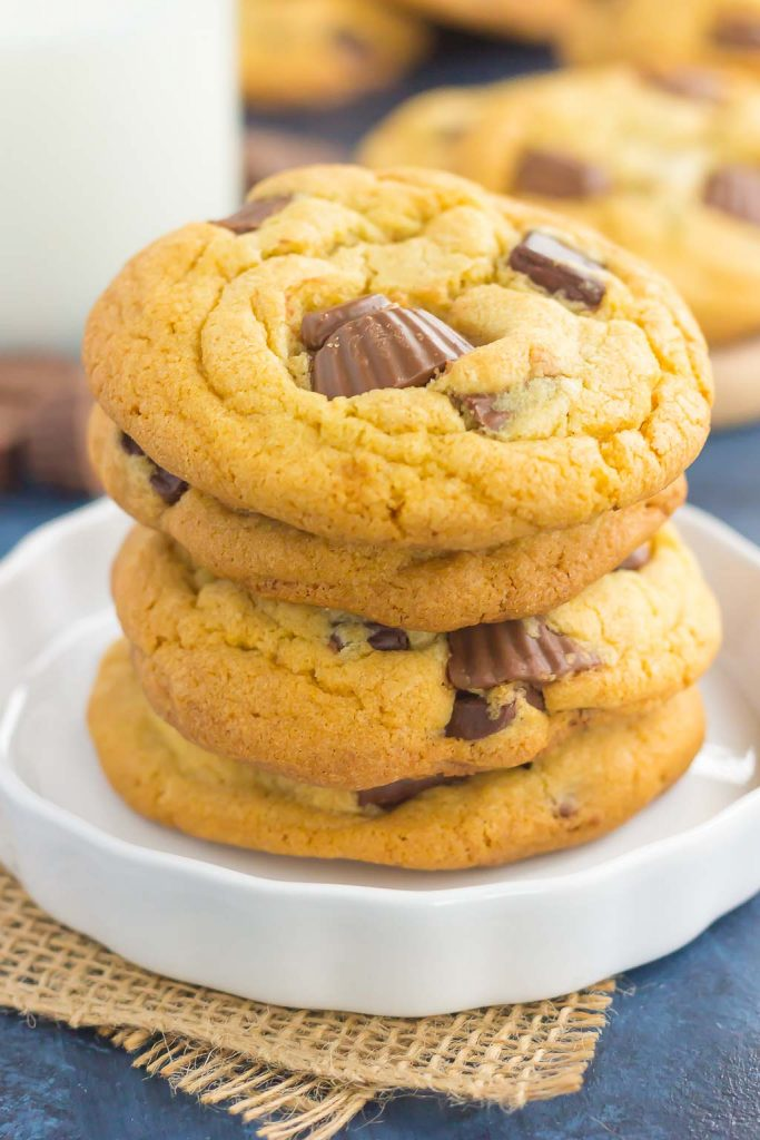These Chocolate Chunk Peanut Butter Cup Cookies are soft, chewy, and loaded with chocolate chunks and mini peanut butter cups. The dough comes together quickly and is an easy dessert that is sure to impress every chocolate and peanut butter lover!