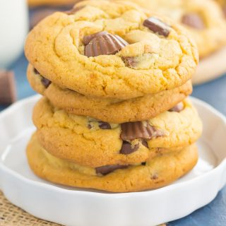 Chocolate Chunk Peanut Butter Cup Cookies {Plus a Video!}