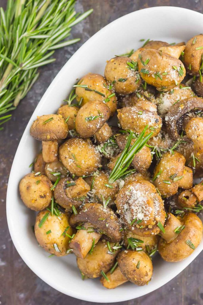These Roasted Mushrooms with Garlic and Rosemary are loaded with a savory mixture of herbs and then baked until golden. Fast, fresh and easy to make, these mushrooms take less than 30 minutes from start to finish!