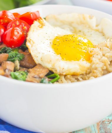 Switch up your breakfast routine with this Savory Oatmeal Breakfast Bowl. Filled with hearty oats, fresh mushrooms, sauteed spinach and an egg, this simple dish is packed with flavor and is the perfect way to start the day!