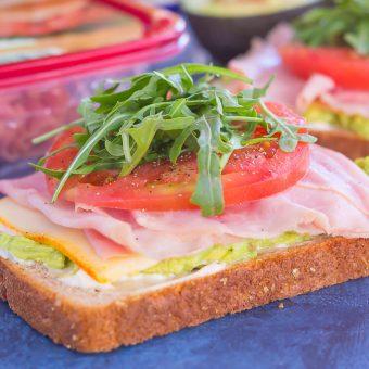 Ham and Avocado Open-Faced Sandwich