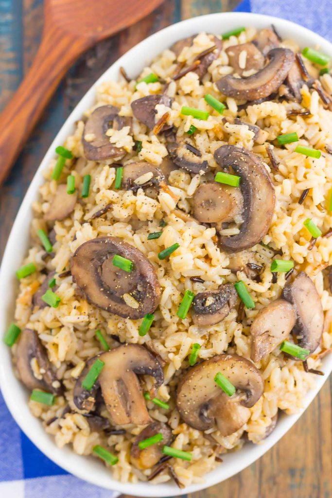This Mushroom Wild Rice Pilaf is simple, fresh, and packed with flavor. Filled with fresh mushrooms, zesty seasonings, and wild rice, this dish serves as an easy side dish or main course that is sure to please everyone!