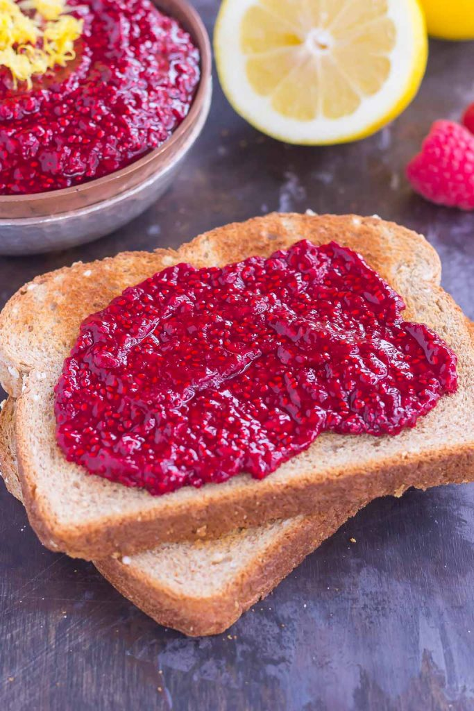This Raspberry Chia Jam is simple, fresh, and packed with flavor. Fresh raspberries and protein-packed chia seeds make up the base of this easy jam, which is perfect for topping toast, bagels, and oatmeal. With just four simple ingredients and hardly any prep time, you can have this easy jam ready in minutes!