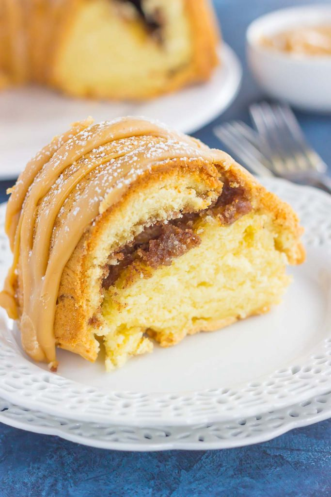 This Cinnamon Streusel Butter Cake with Caramel Icing is a decadent dessert that is sure to impress everyone. A moist and rich batter is sweetened with hints of butter, swirled with cinnamon streusel, and then topped with a rich, caramel icing. Easy to make and even better to eat, this cake will quickly become a favorite in your household!