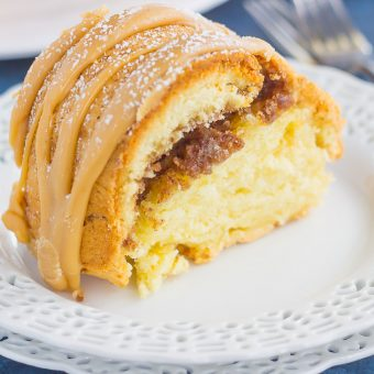 Cinnamon Streusel Butter Cake with Caramel Icing {A Reader Recipe Favorite!}