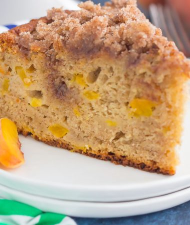 With juicy peaches, spices, and peach yogurt for extra taste and texture, this Fresh Peach Cake bakes up light, moist and delicious!