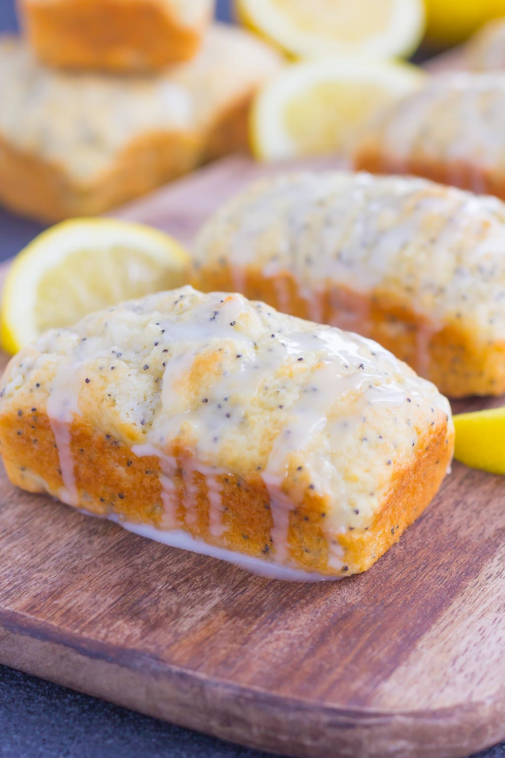mini lemon poppy seed bread loaves with glaze