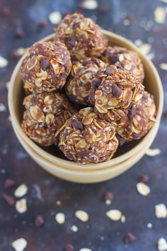 Packed with fiber, whole grains, and chia seeds, these Peanut Butter Energy Bites are sure to fuel you up and keep you going all day long!