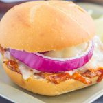 This Toasted Barbecue Chicken Sandwich is simple, fast, and the perfect meal for one! Shredded chicken is smothered with tangy barbecue sauce, then topped with Swiss cheese, red onions, and baked until melted and golden. Fresh, flavorful, and easy, you can have this meal ready in less than 15 minutes!