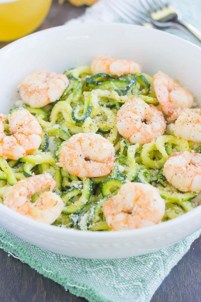 These Garlic Parmesan Zoodles with Shrimp are a healthier, one pan meal that's low carb and packed with flavor. Tender zucchini noodles are tossed with shrimp and seasoned with savory garlic and creamy Parmesan cheese. Made in one pan and ready in less than 20 minutes, this meal is perfect for busy weeknights!