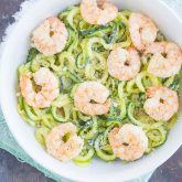 Garlic Parmesan Zoodles with Shrimp