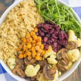 Roasted Cauliflower, Mushroom and Chickpea Quinoa Bowl