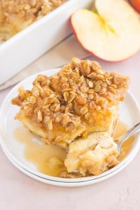 a piece of apple french toast casserole with a spoon