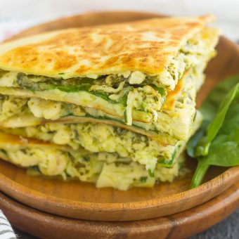 Chicken and Spinach Pesto Quesadillas {Plus a Video!}