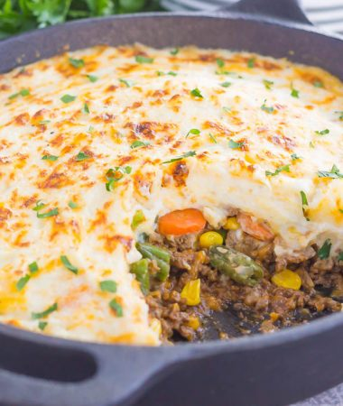 This Easy Shepherd's Pie features a unique spin on the classic version and is ready in less than 20 minutes. Loaded with zesty ground beef, cheddar cheese,mixed veggies, and topped with creamy, cheesy mashed potatoes, this is the ultimate comfort dish for everyone to enjoy!