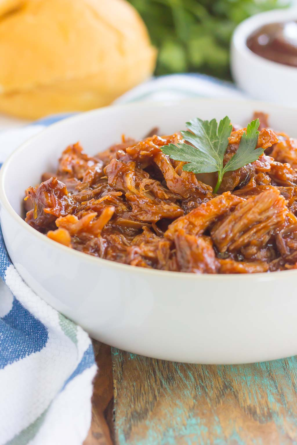 Slow Cooker Barbecue Pulled Pork in white bowl
