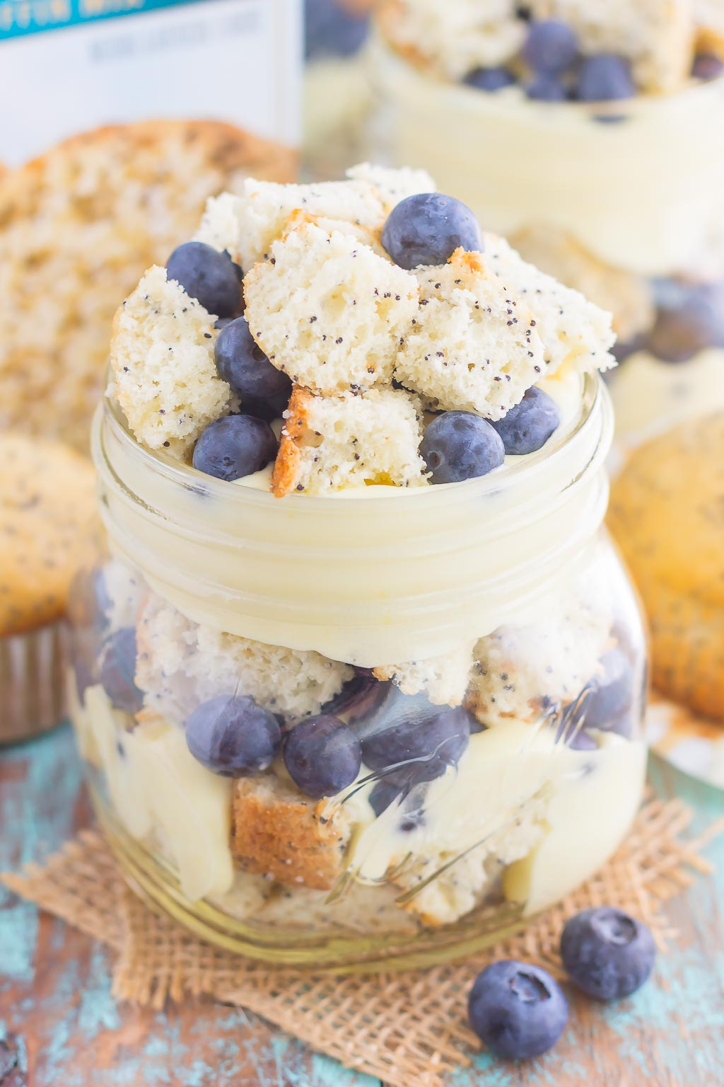 Blueberry Almond Poppy Seed Muffin Trifles are filled with creamy, whipped vanilla pudding, almond poppy seed muffin chunks, and fresh blueberries. It's layered together to create a simple dessert that's ready in no time!