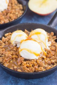 caramel apple crisp with ice cream on top