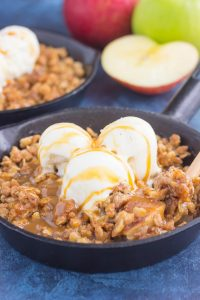 apple crisp with vanilla ice cream and caramel sauce