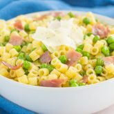 Garlic Butter Pasta with Prosciutto and Peas