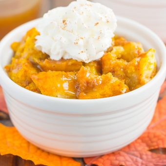 This Pumpkin Bread Pudding with Brown Sugar Caramel Sauce is warm, cozy, and perfect for dessert. It's easy to make, packed with simple ingredients, and topped with an easy caramel sauce. This pumpkin dish is guaranteed to be a favorite all year long!
