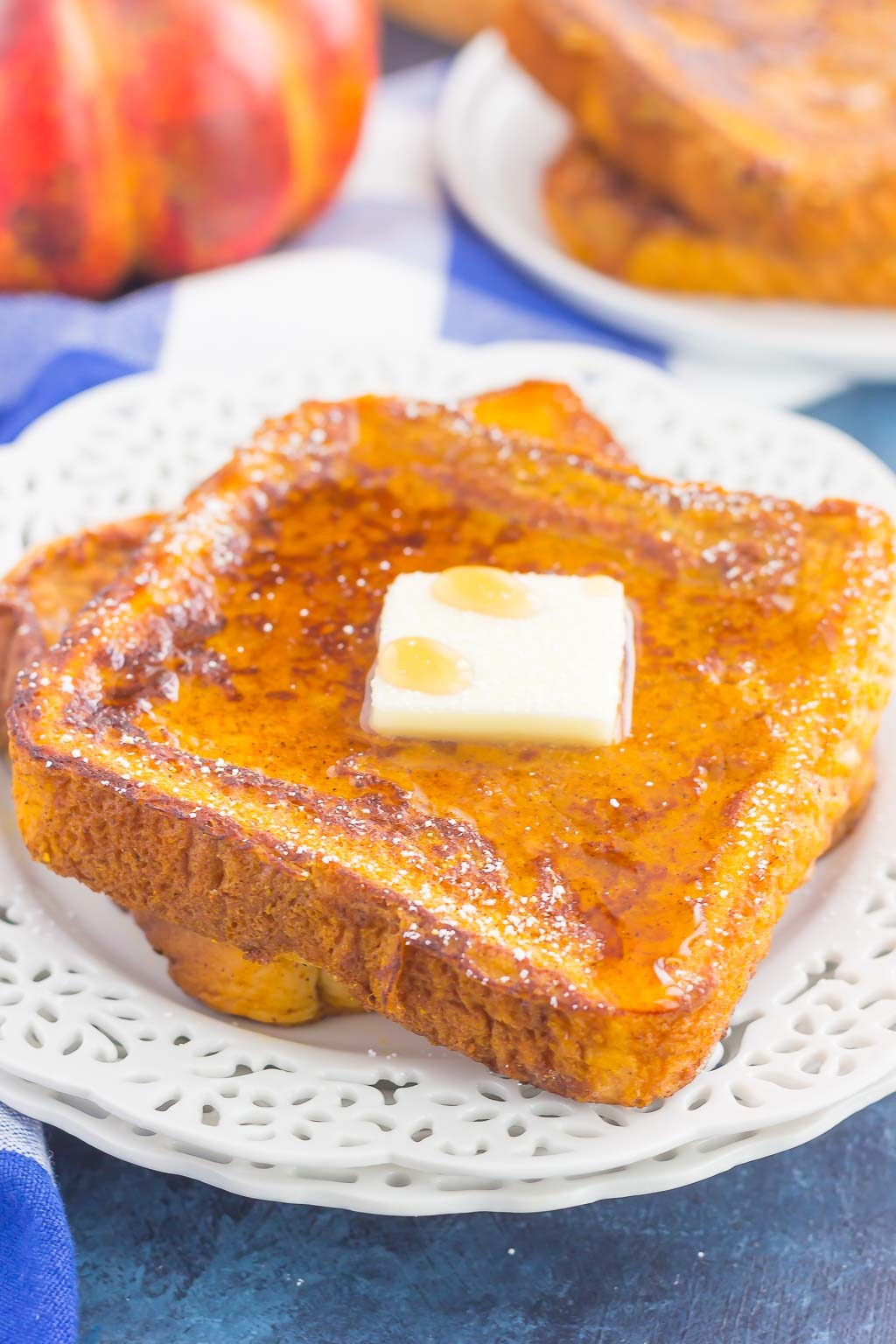 This Pumpkin Spice French Toast is the best breakfast to enjoy on those chilly fall mornings. Crispy on the outside and tender on the inside, this easy dish is bursting with flavor and perfect for the whole family to enjoy!