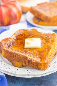 pumpkin french toast with butter and syrup