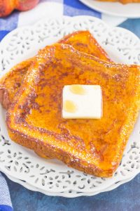 close up of slices of pumpkin french toast