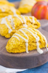 pumpkin scones drizzled with a maple glaze