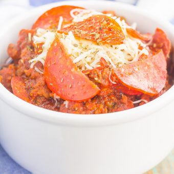 Slow Cooker Pizza Chili {Plus a video!}