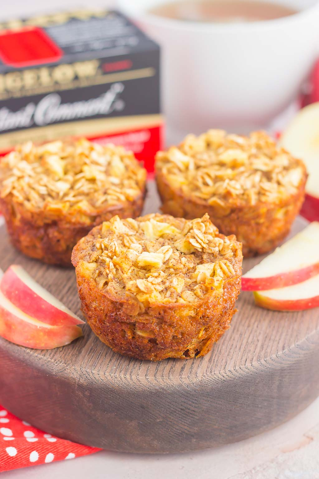 These Apple Cinnamon Baked Oatmeal Cups are the perfect, on-go-the breakfast to enjoy any day of the week. Fresh apples, a sprinkling of cinnamon, and hearty oats make a deliciously cozy dish to enjoy throughout the season!