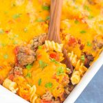 This CheeseburgerCasserole is loaded with the flavors of a classic cheeseburger, but in comfort food form. Tender pasta, seasoned ground beef, and a sprinkling of spices and cheese make this dish a family favorite for dinner!