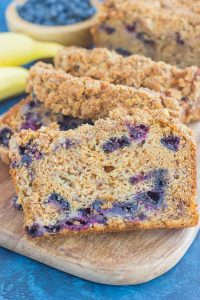 This Cinnamon Streusel Blueberry Banana Bread is packed with the classic banana bread flavor, loaded with juicy blueberries, and topped with a sweet and crumbly cinnamon streusel. Soft, moist, and perfectly delicious, this quick bread makes the best breakfast or dessert!